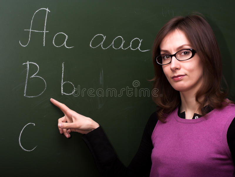 Download Woman Teacher Abc Chalk Board Stock Photo - Image: 29210458