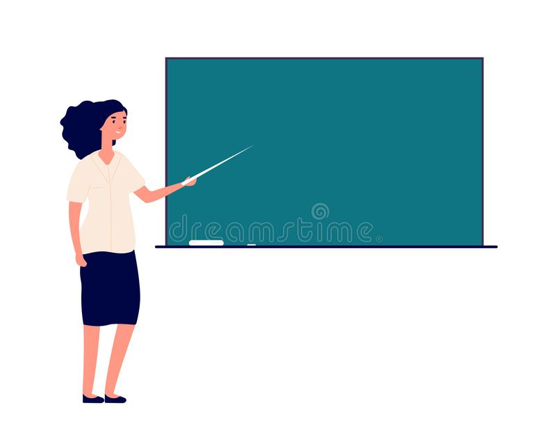 Woman teacher at blackboard. female tutor in classroom teaching students. School education vector concept. Illustration of woman teacher near blackboard stock illustration