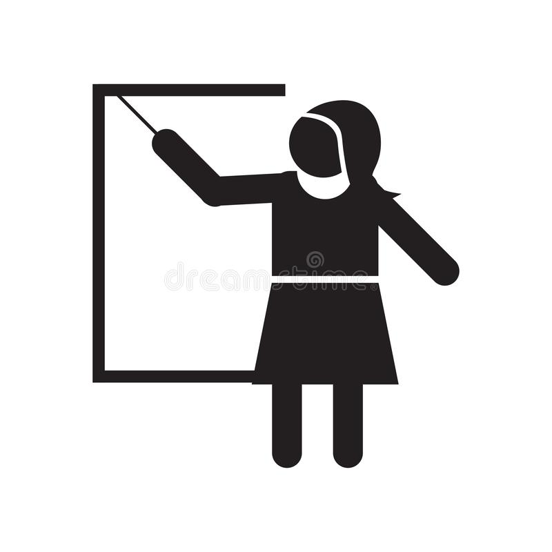 Woman Teaching icon vector sign and symbol isolated on white background, Woman Teaching logo concept stock illustration