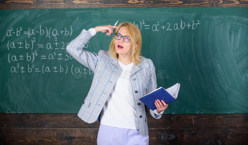Woman teaching near chalkboard. Effective teaching involve acquiring relevant knowledge about students. What make great. Teacher. Principles can make teaching stock images