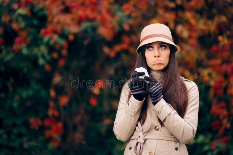 Woman with Tearful Eyes from Autumn Allergies stock photography