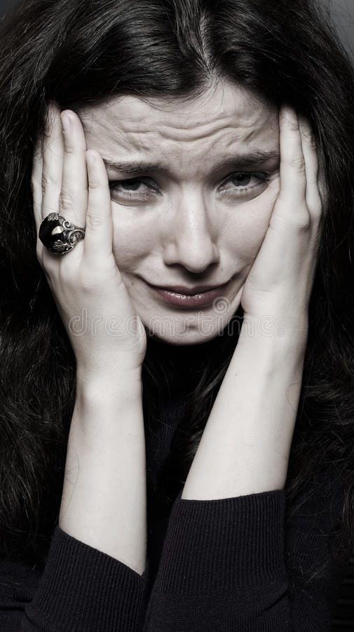 Woman in tears royalty free stock image