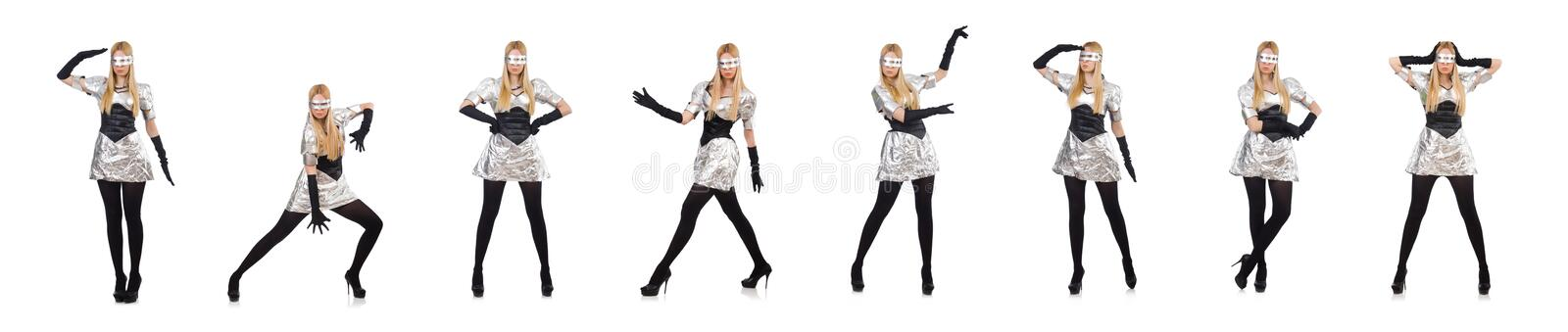 Woman in tech concept isolated on white stock images