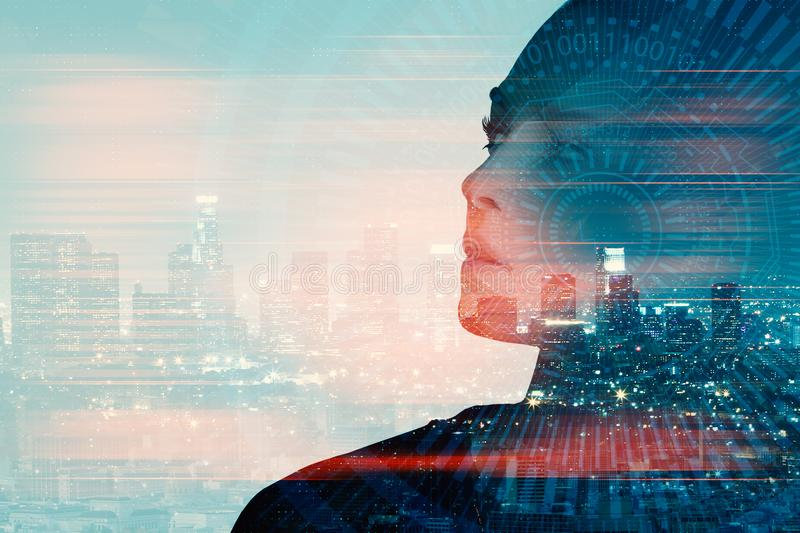 Woman with tech pattern. Attractive young woman portrait on abstract night city background with copy space and digital pattern. Double exposure royalty free stock photography