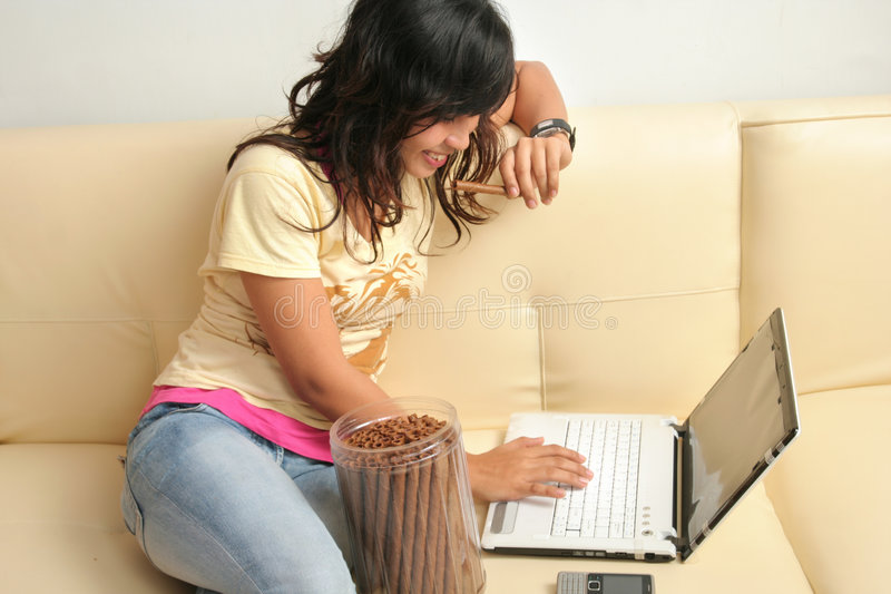 Woman and technology royalty free stock photo