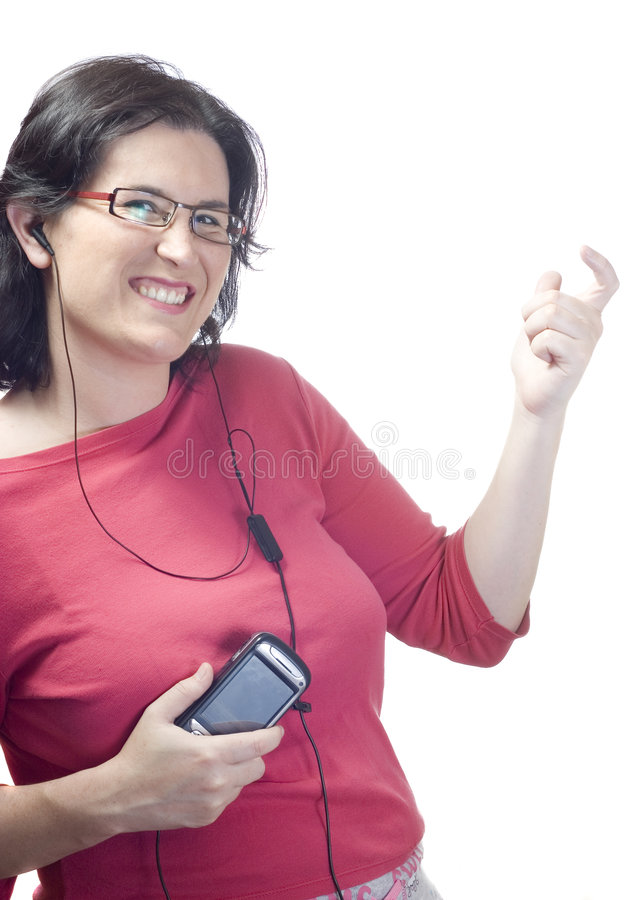 Woman technology mp3 music royalty free stock images