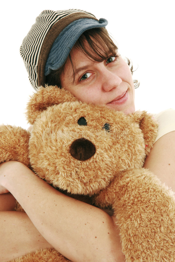 Download Woman and teddy bear stock photo. Image of bear, background - 8138556