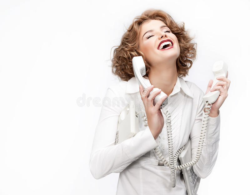 Woman with telephone stock images