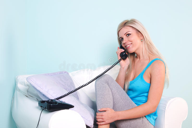 Woman on the telephone royalty free stock photo