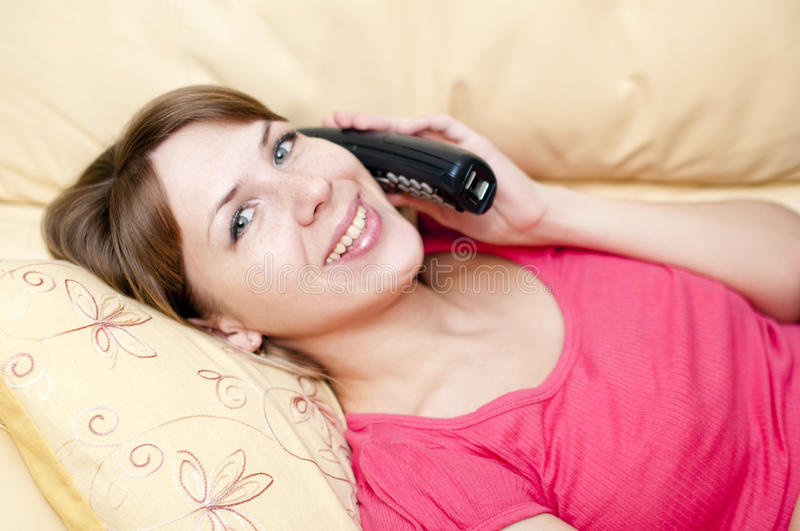 Woman with a telephone royalty free stock images
