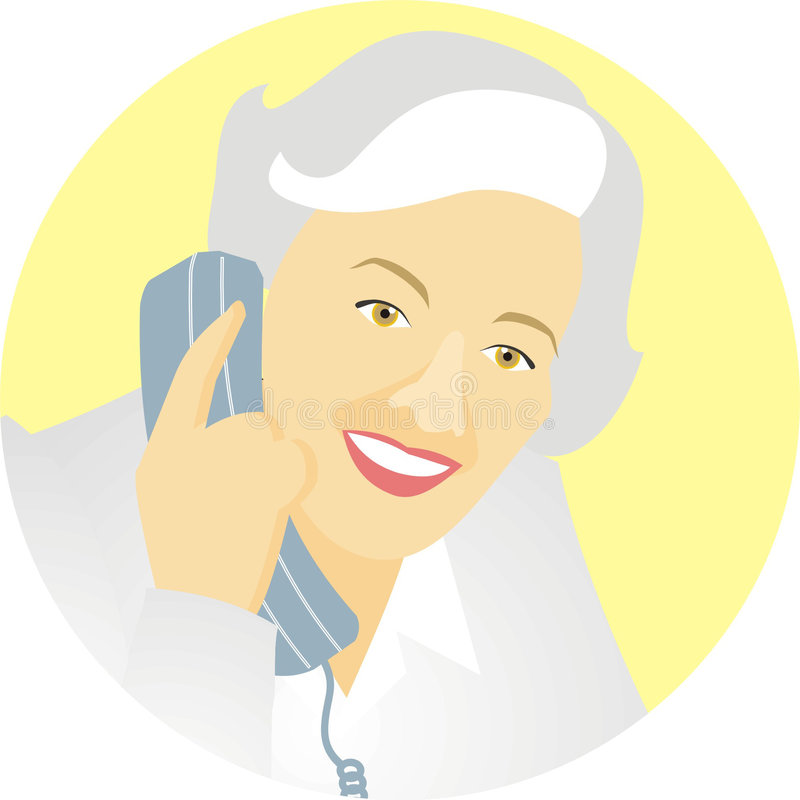 Woman on telephone. Art illustration of a woman talking on the telephone stock illustration