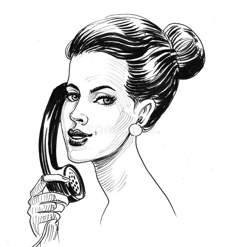 Woman and telephone stock illustration