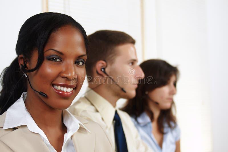 Woman telephone operator royalty free stock photo
