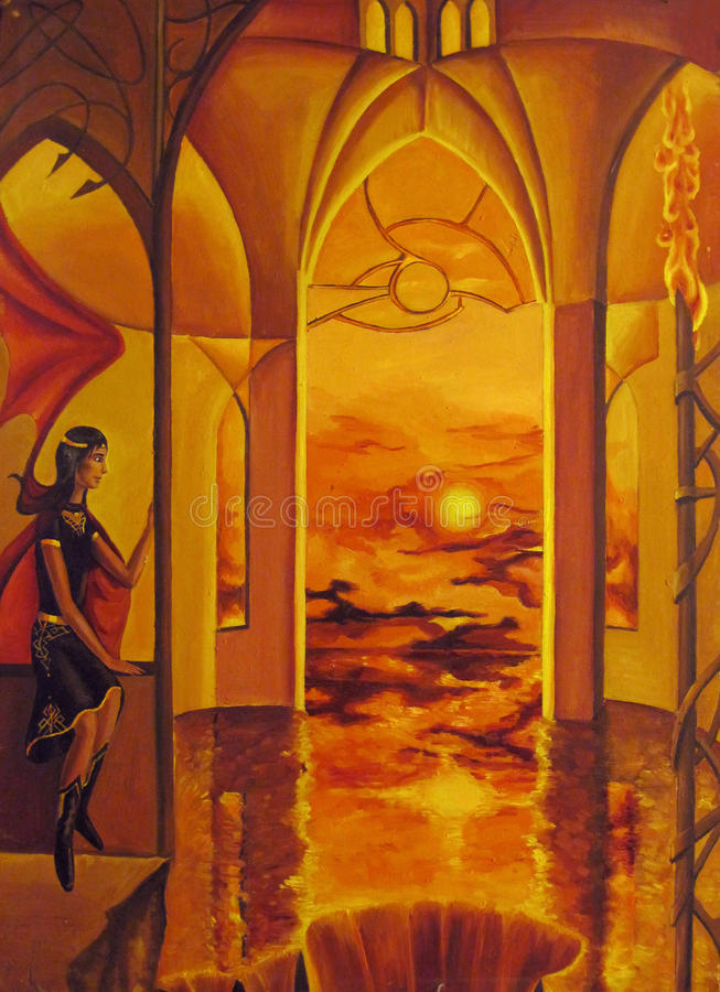 The woman in the sanctuary. The woman in the temple at sunset royalty free illustration