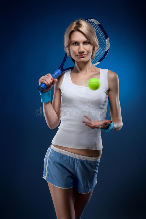 Download Woman with a tennis ball stock image. Image of leisure - 21368247