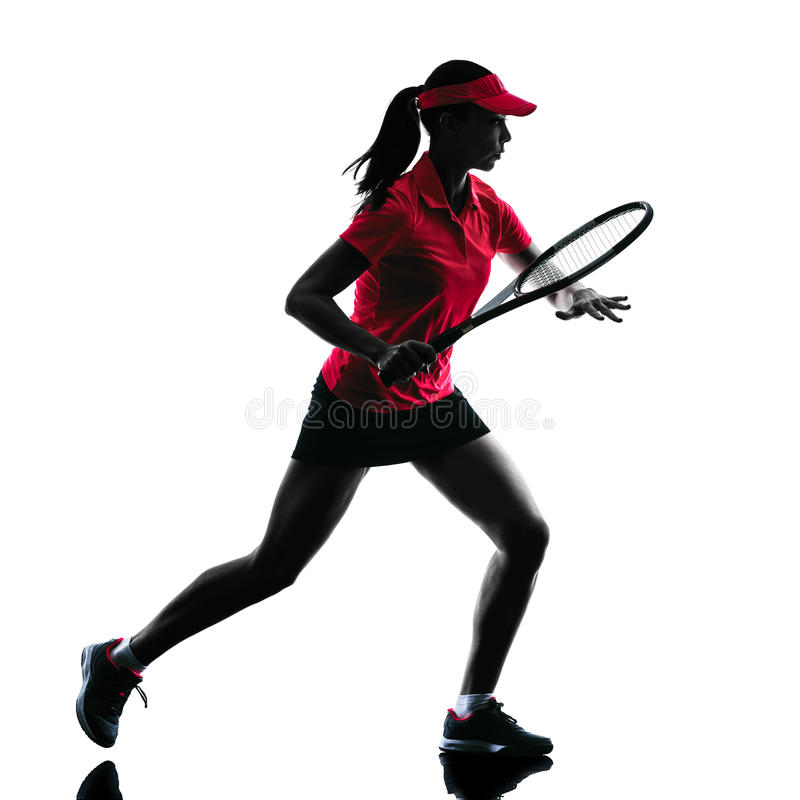 Woman tennis player sadness silhouette stock images