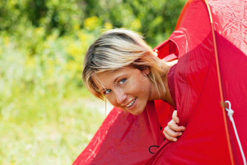 Download Woman in tent stock image. Image of leisure, holidays - 9640909