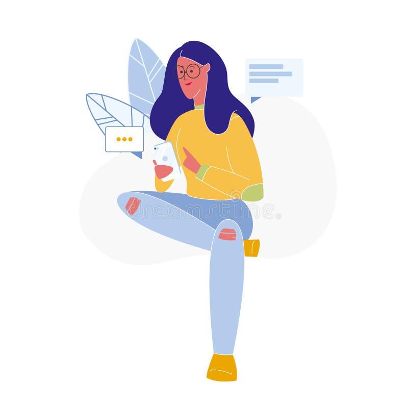 Woman Texting Online Flat Vector Illustration royalty free illustration
