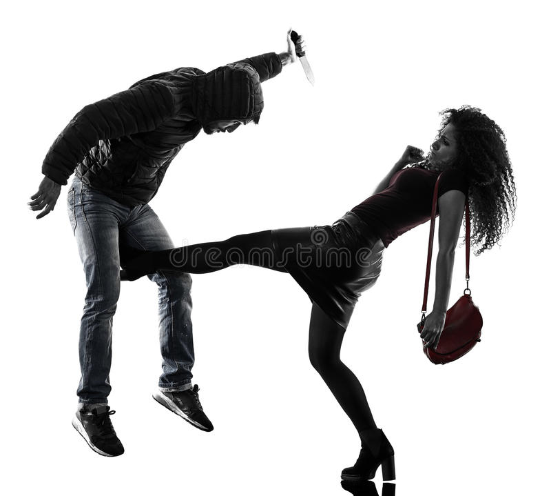 Woman thief aggression self defense isolated stock image