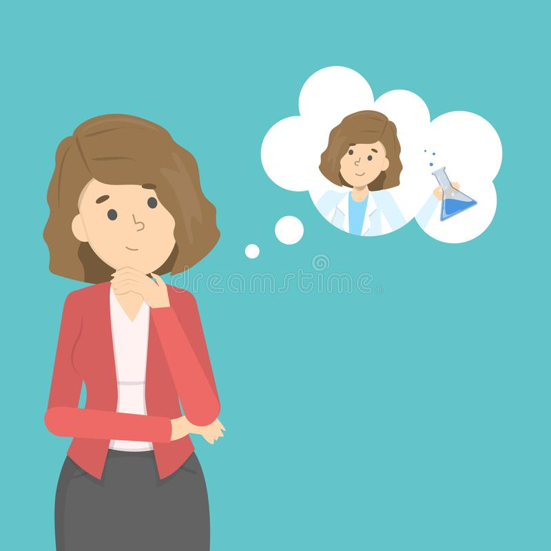 Woman think about future occupation. Choosing career vector illustration