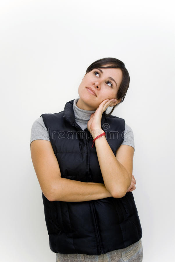 Woman thinking royalty free stock photos