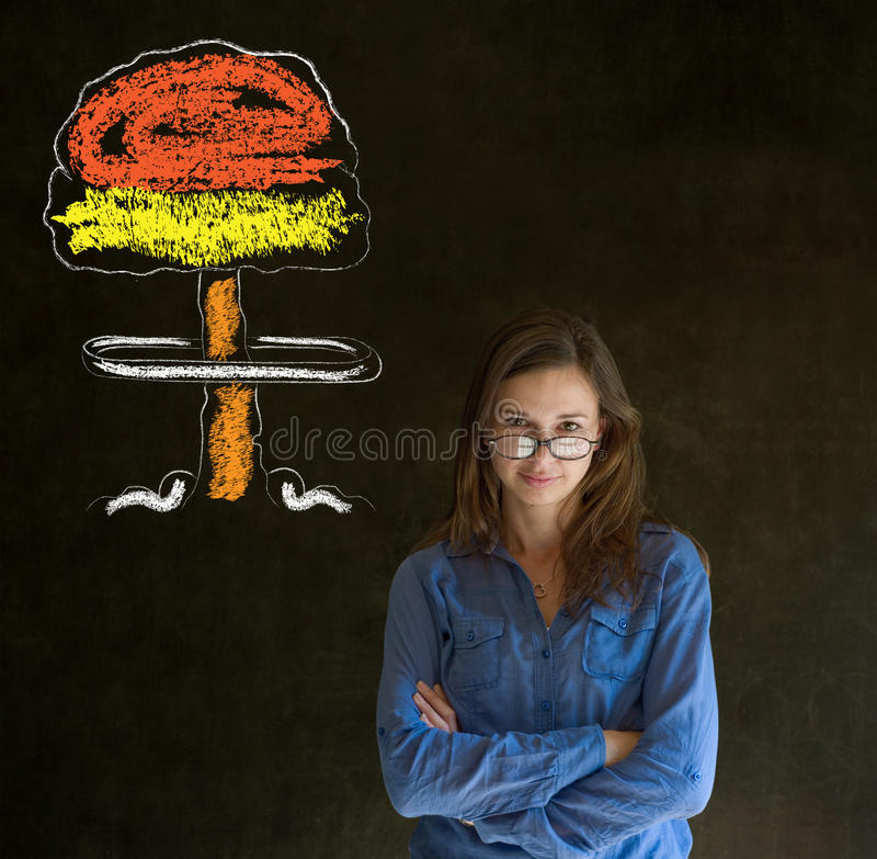 Woman thinking chalk nuclear bomb cloud blackboard background royalty free stock images