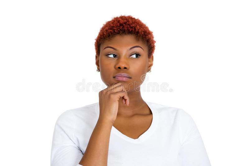 Woman thinking daydreaming stock photography