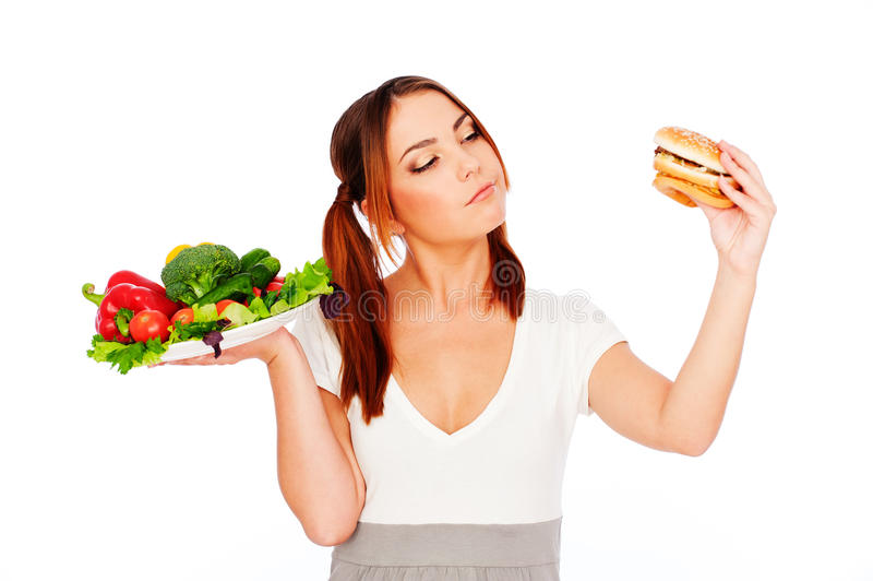 Woman thinking about food royalty free stock photo