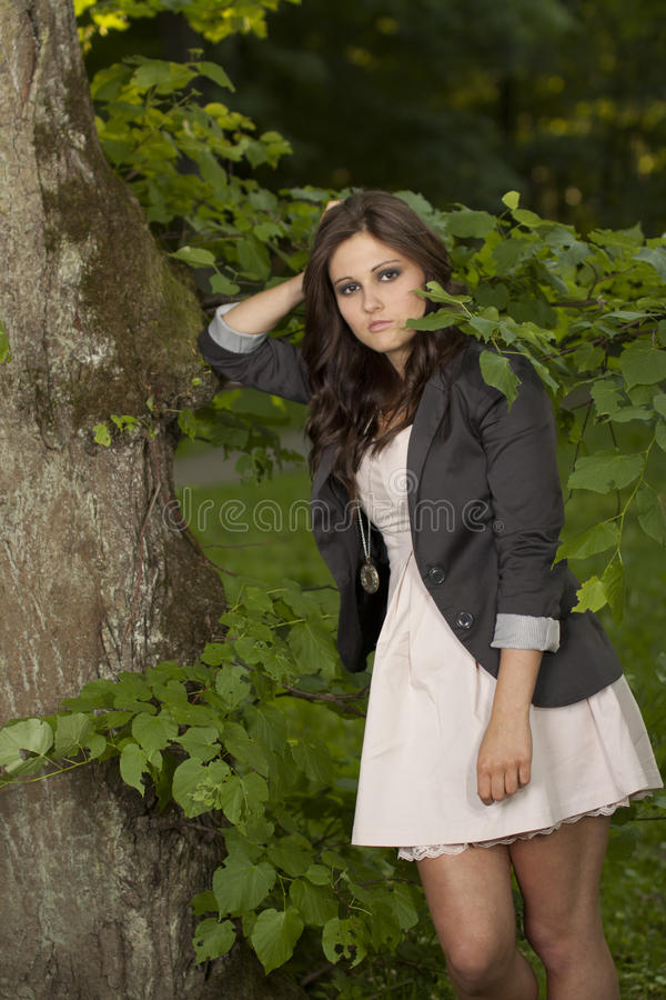 Download Woman Thinking In The Forrest Stock Image - Image of joyful, adult: 24875885