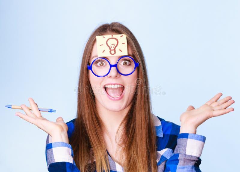 Download Woman Thinking Light Idea Bulb On Head, Creative Girl Lots Of Ideas Stock Photo - Image: 83711701