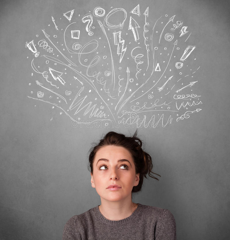 Woman thinking. Pretty young woman with many sketched arrows pointed in different directions above her head royalty free stock images