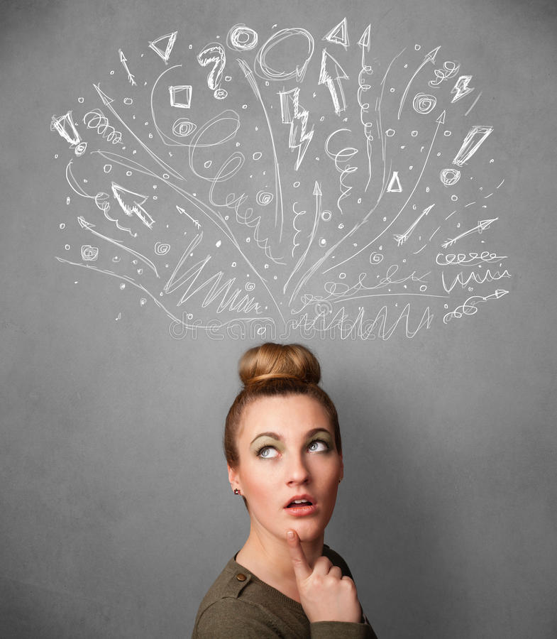 Woman thinking with sketched arrows. Pretty young woman with many sketched arrows pointed in different directions above her head royalty free stock photography