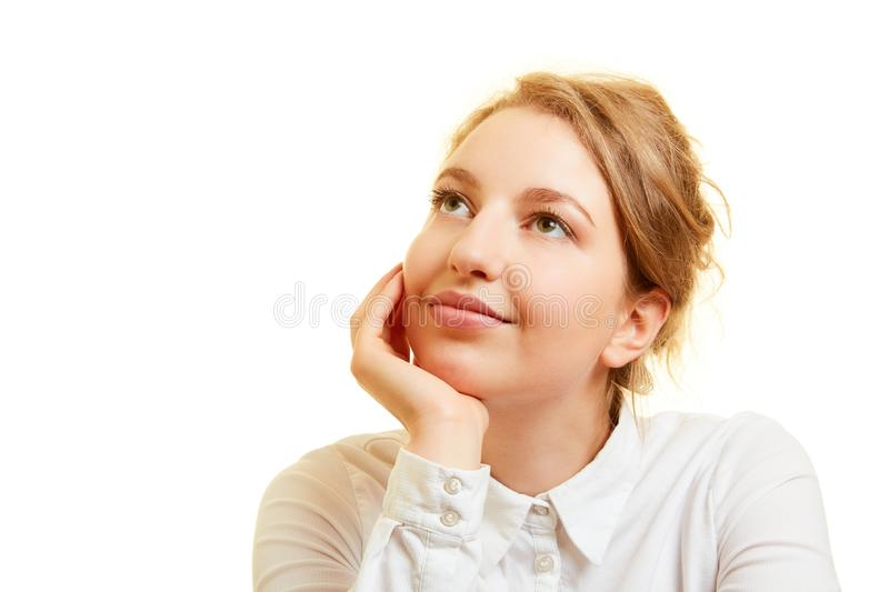 Woman thinking about solution to problem royalty free stock images