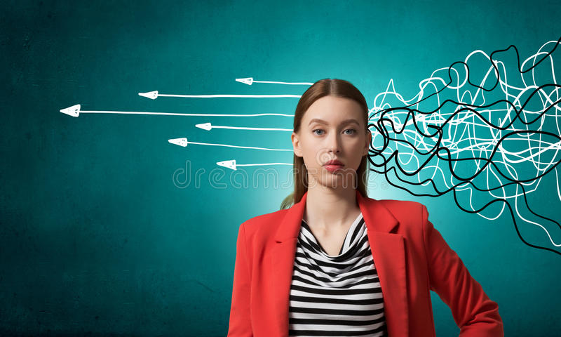 Woman thinking something over royalty free stock photo