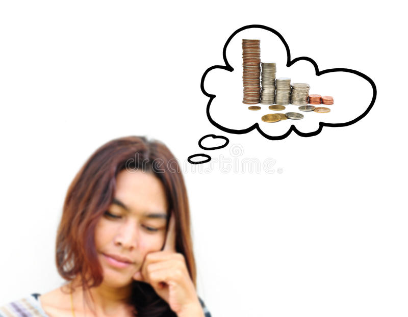 Download Woman thinking to money stock photo. Image of coin, deposit - 25601424