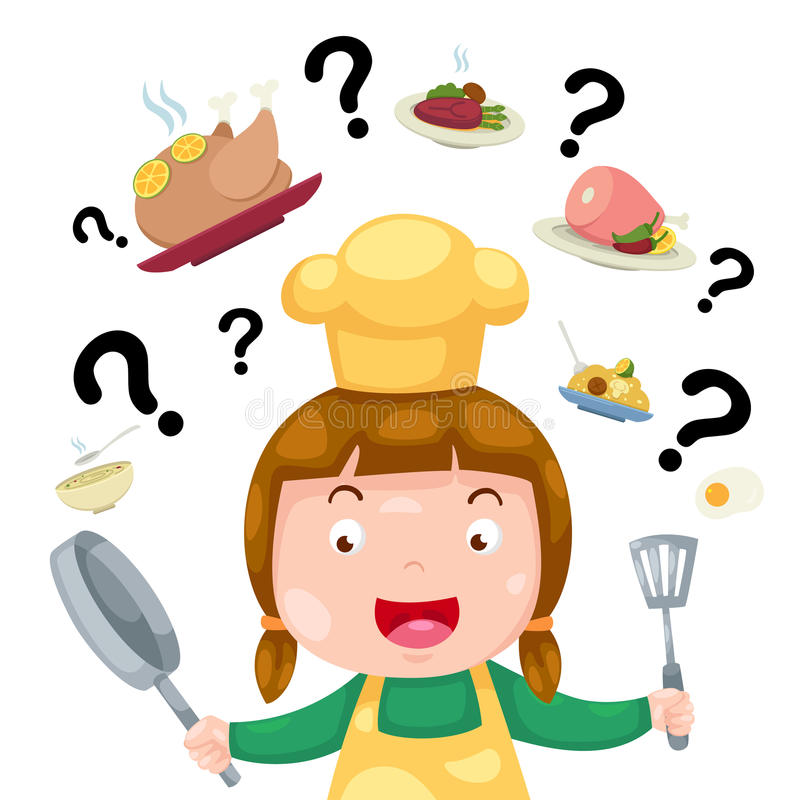 Woman thinking what to cook stock illustration