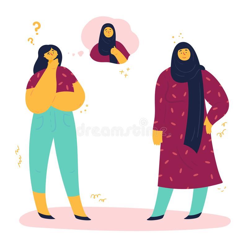 Woman thinks whether to wear a hijab royalty free illustration