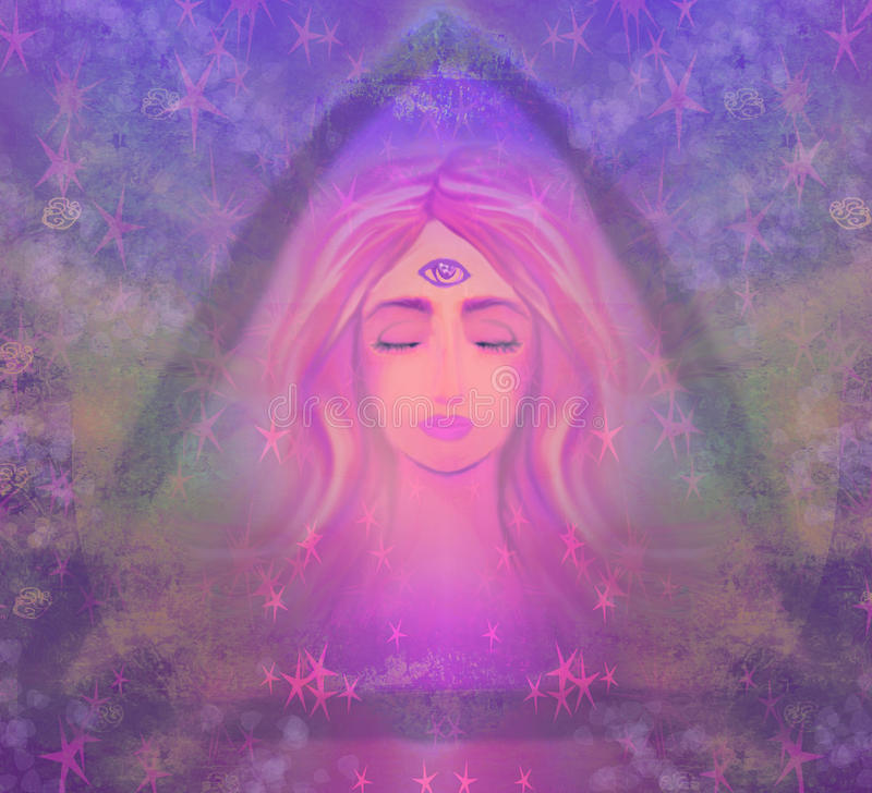 Woman with third eye stock illustration