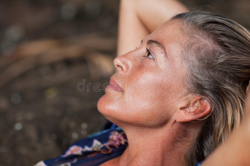 Woman in thought stock image