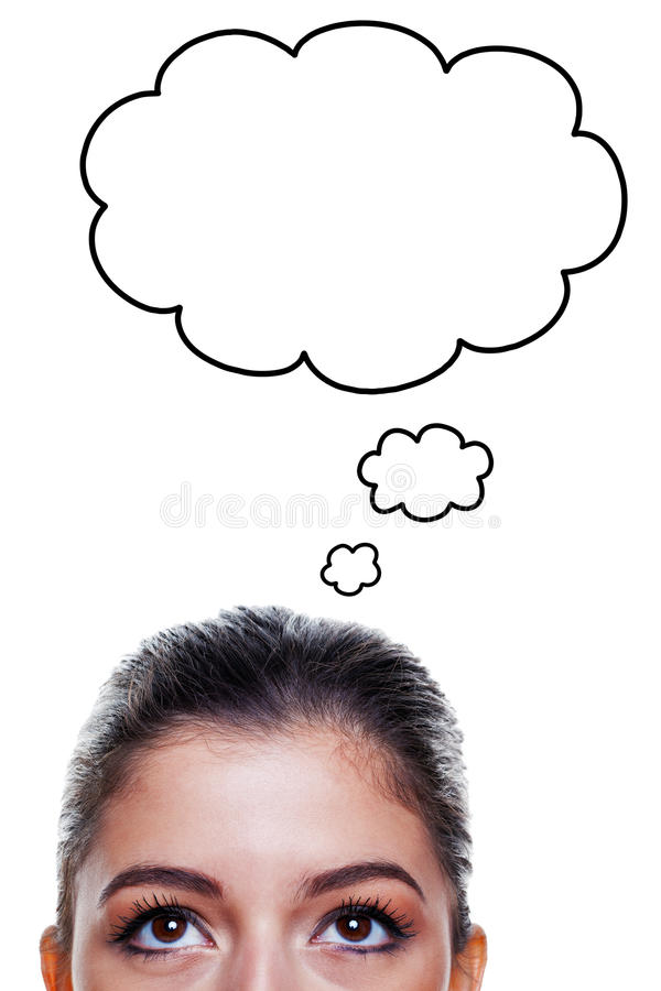 Woman with thought bubbles royalty free stock photography
