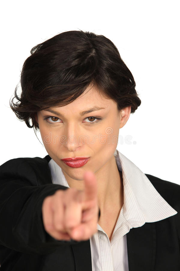Woman threatening with her finger royalty free stock photography
