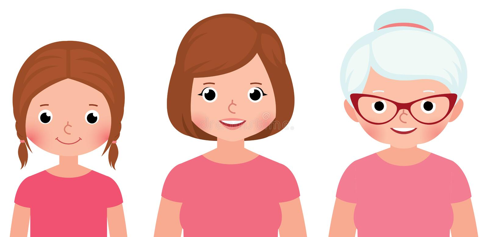 Woman three different stages of childhood ages maturity and old. Age Stock vector illustration royalty free illustration