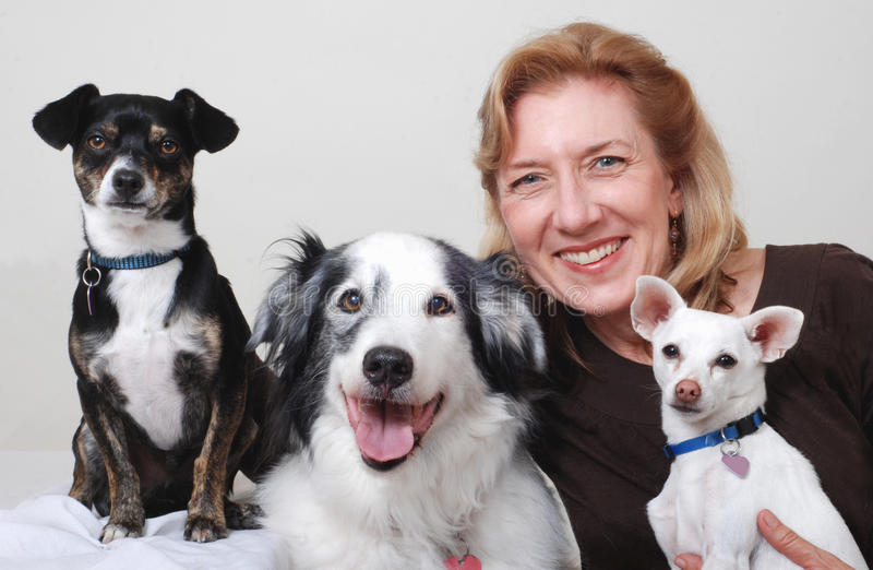 Woman with three dogs royalty free stock photos