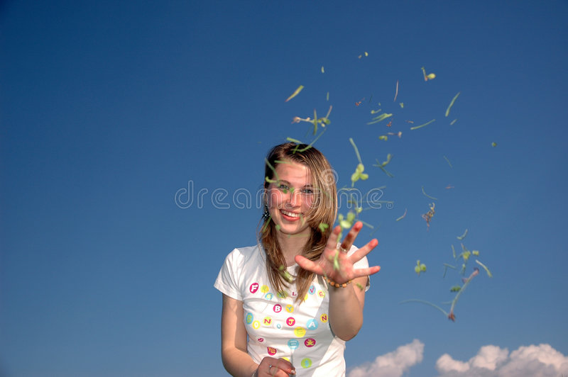 Woman throw with trefoil stock photos