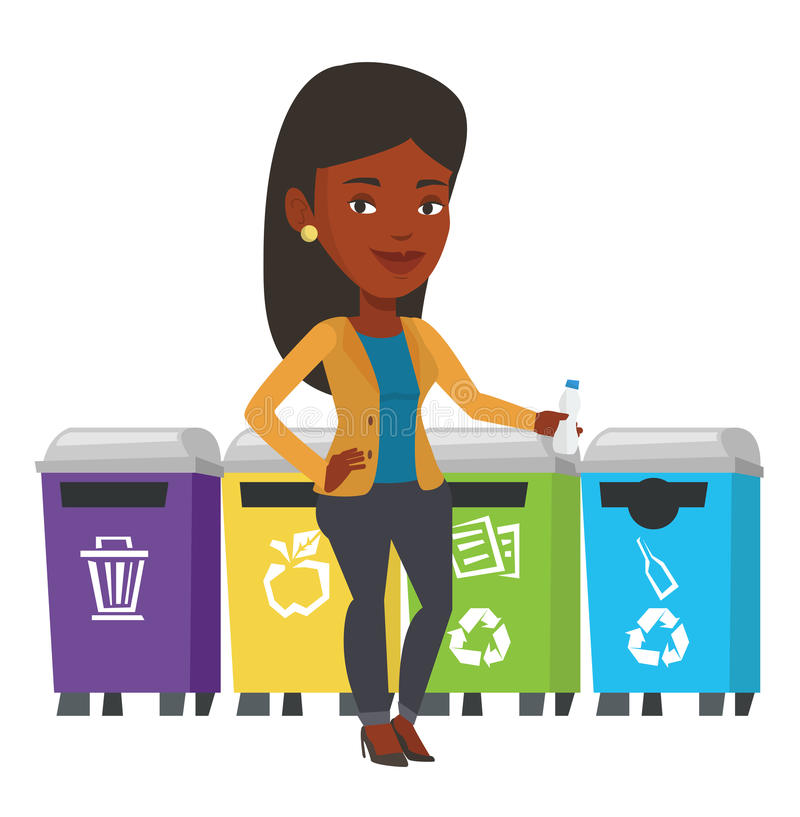 Woman throwing away plastic bottle. Girl throwing away plastic bottle. Girl standing near four bins and throwing away plastic bottle in appropriate bin. Waste royalty free illustration