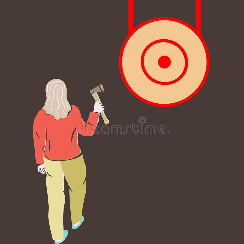 Woman throwing axe in wood target vector illustration