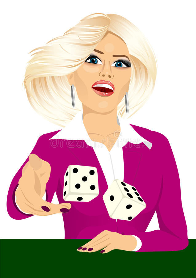Woman throwing the dice gambling playing craps. Portrait of attractive young blonde woman throwing the dice gambling playing craps on green table stock illustration
