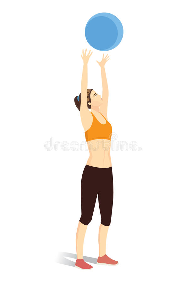 Woman throwing fitness ball into the air. stock illustration