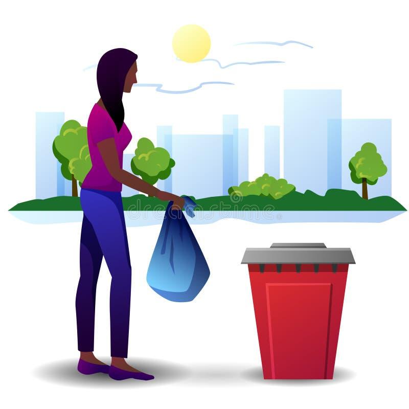 A woman throwing garbage away royalty free illustration