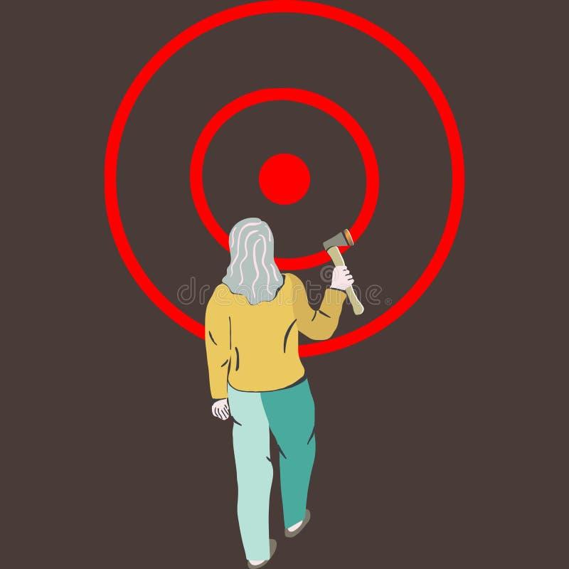 Woman throwing hatchet in wood target. Axe throwing, Lumberjack sports, Success axe stock illustration